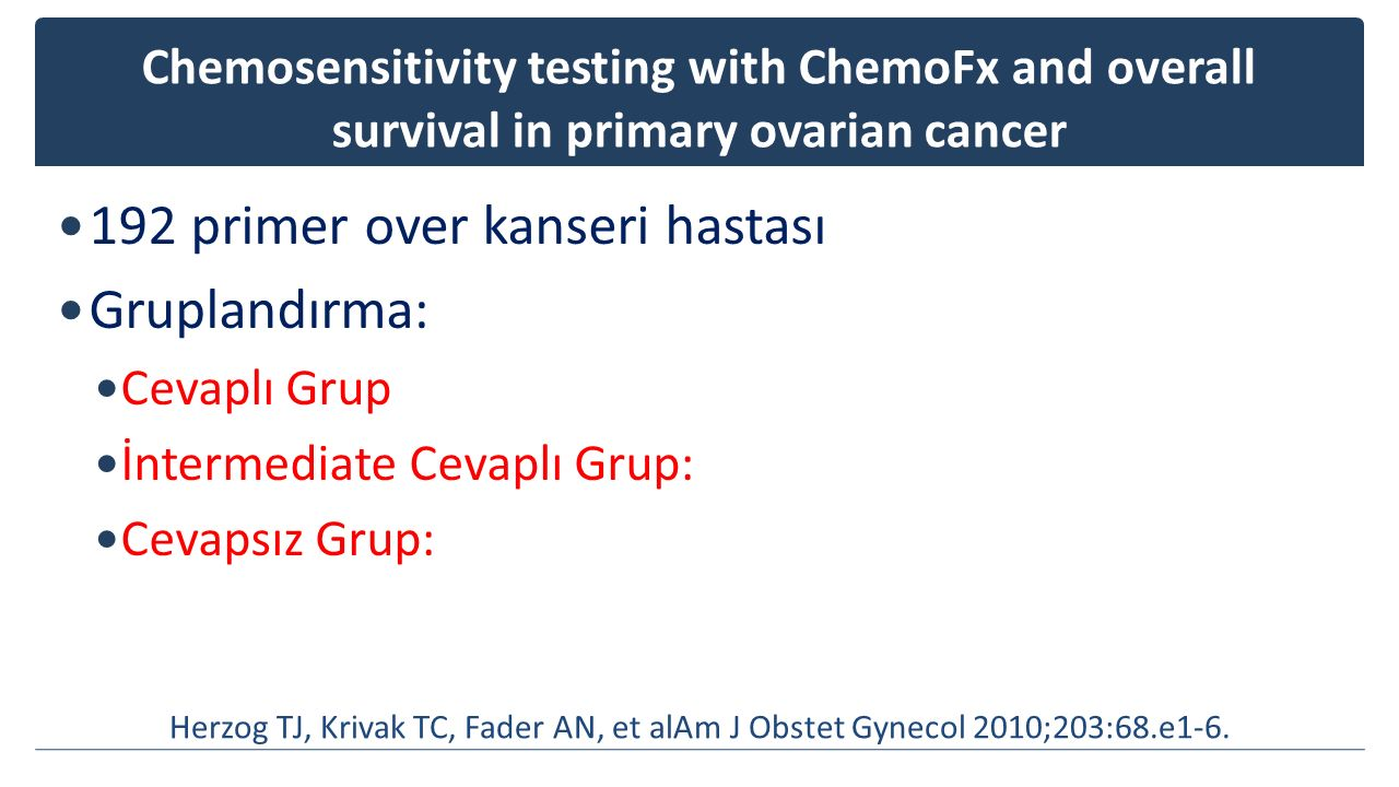 Chemosensitivity testing with ChemoFx and overall survival in primary ovarian cancer 192 primer over kanseri hastası Gruplandırma: Cevaplı Grup İnterm