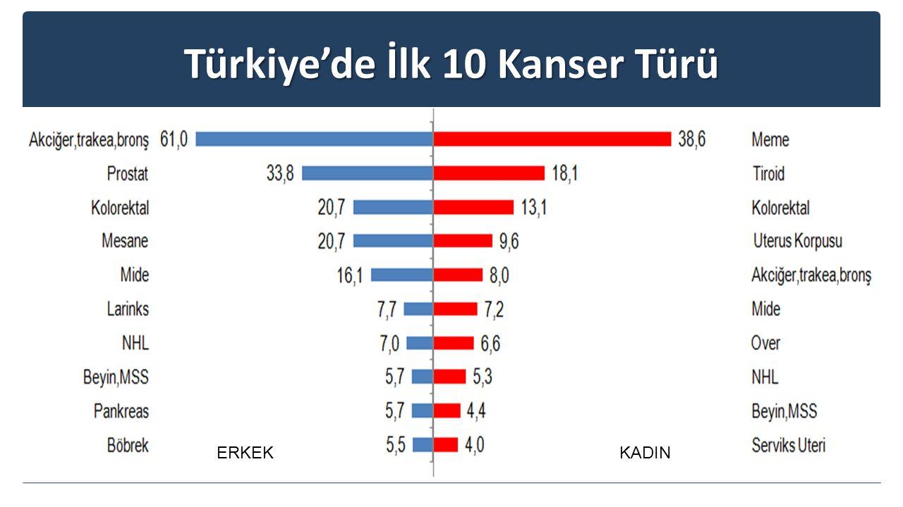 Türkiye'de İlk 10 Kanser Türü ERKEKKADIN