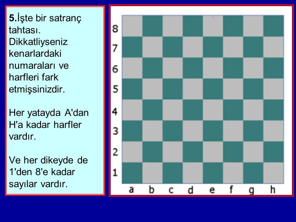 5.İşte bir satranç tahtası.Dikkatliyseniz kenarlardaki numaraları ve harfleri fark etmişsinizdir.
