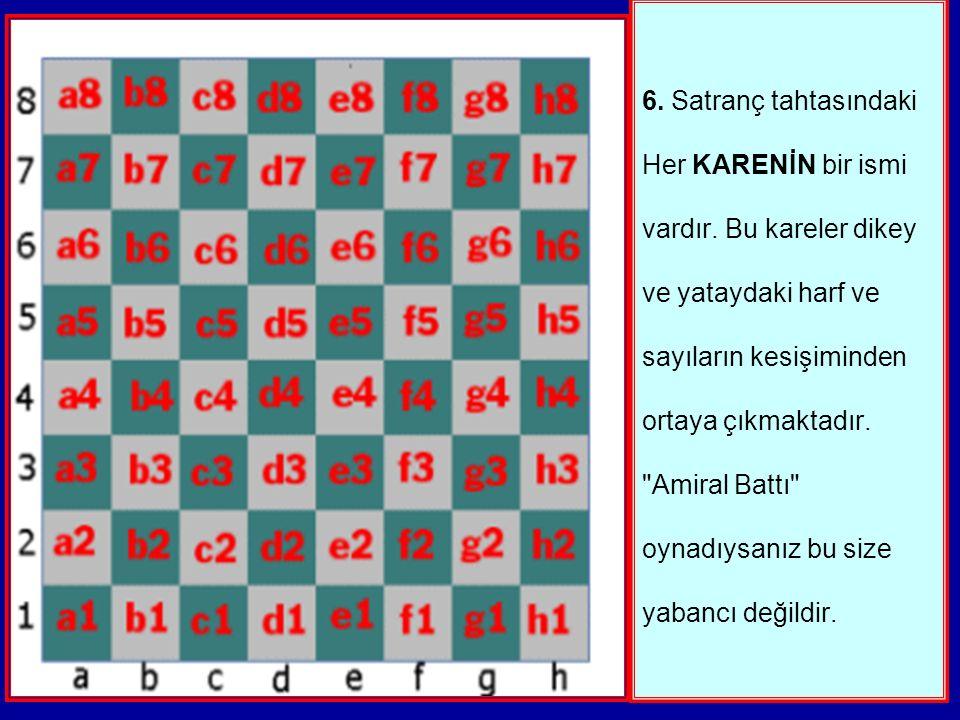 6.Satranç tahtasındaki Her KARENİN bir ismi vardır.