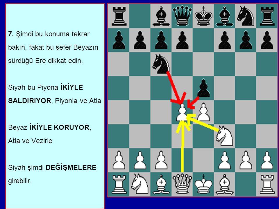 7.Şimdi bu konuma tekrar bakın, fakat bu sefer Beyazın sürdüğü Ere dikkat edin.