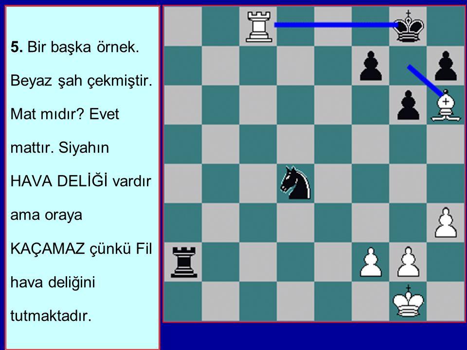 5.Bir başka örnek. Beyaz şah çekmiştir. Mat mıdır.