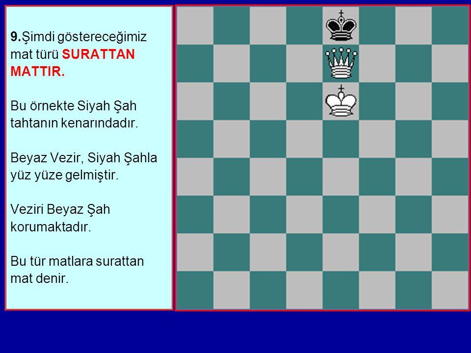 9.Şimdi göstereceğimiz mat türü SURATTAN MATTIR.Bu örnekte Siyah Şah tahtanın kenarındadır.