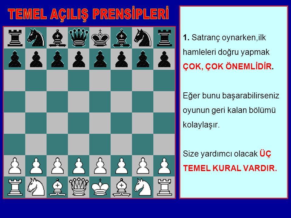 1.Satranç oynarken,ilk hamleleri doğru yapmak ÇOK, ÇOK ÖNEMLİDİR.