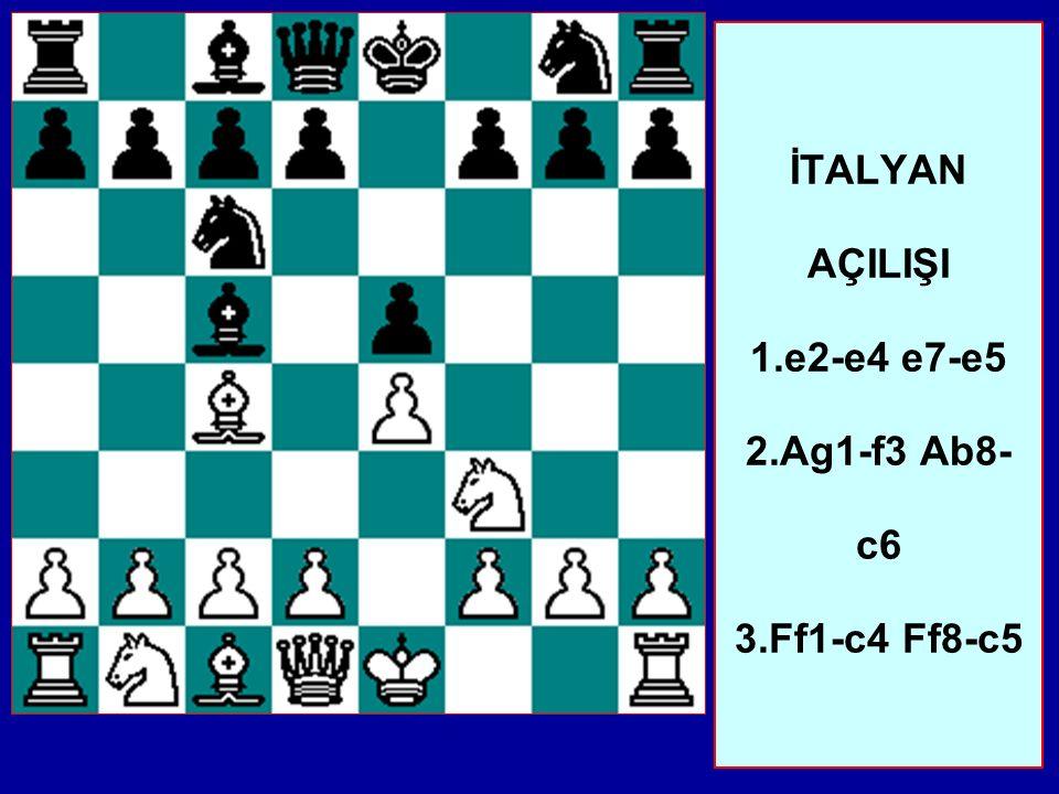 İTALYAN AÇILIŞI 1.e2-e4 e7-e5 2.Ag1-f3 Ab8- c6 3.Ff1-c4 Ff8-c5