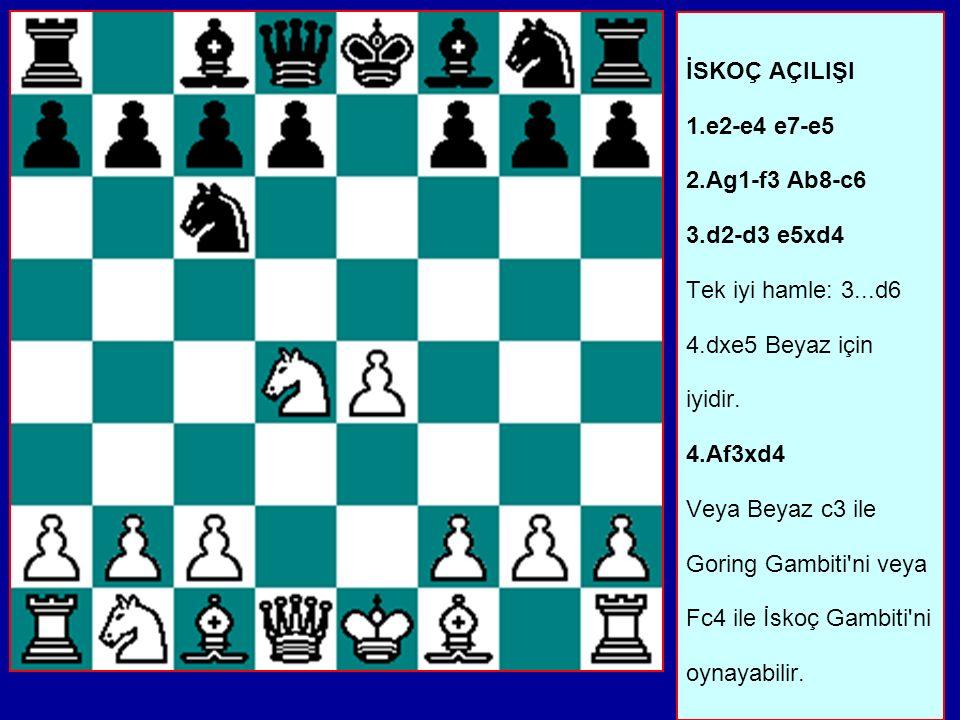 İSKOÇ AÇILIŞI 1.e2-e4 e7-e5 2.Ag1-f3 Ab8-c6 3.d2-d3 e5xd4 Tek iyi hamle: 3...d6 4.dxe5 Beyaz için iyidir.