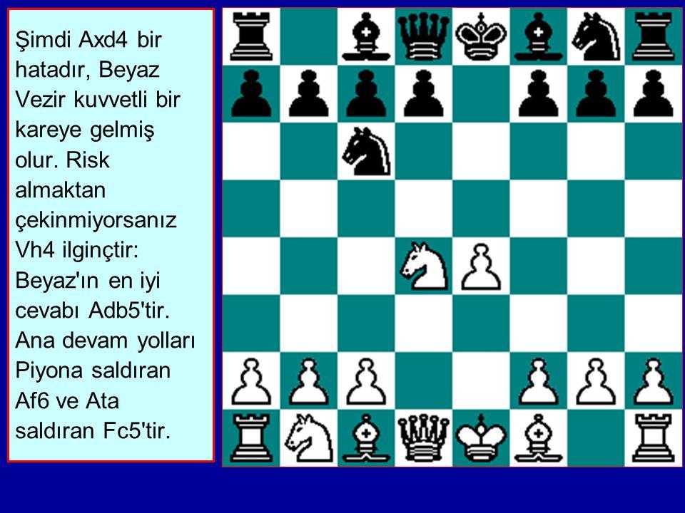 Şimdi Axd4 bir hatadır, Beyaz Vezir kuvvetli bir kareye gelmiş olur.