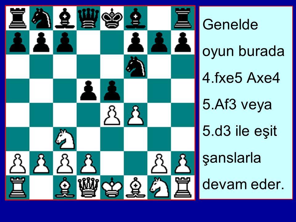 Genelde oyun burada 4.fxe5 Axe4 5.Af3 veya 5.d3 ile eşit şanslarla devam eder.