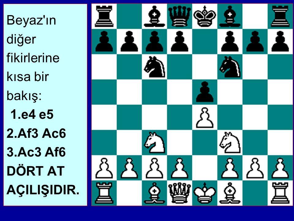 Beyaz ın diğer fikirlerine kısa bir bakış: 1.e4 e5 2.Af3 Ac6 3.Ac3 Af6 DÖRT AT AÇILIŞIDIR.