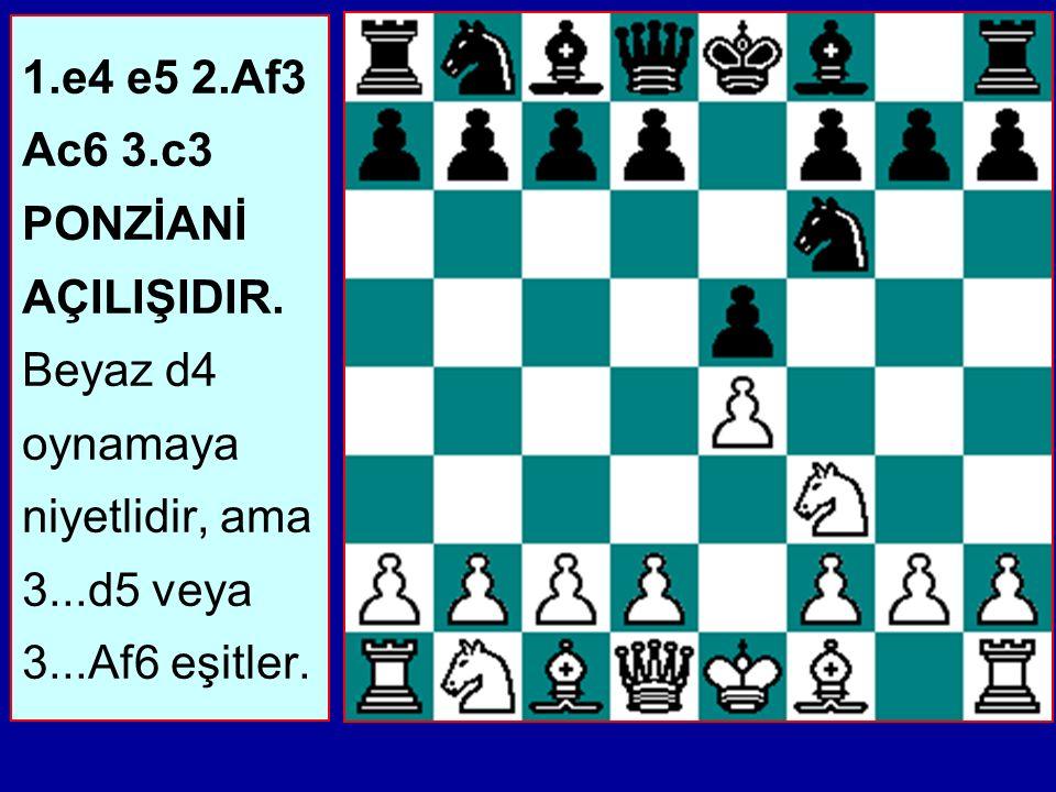 1.e4 e5 2.Af3 Ac6 3.c3 PONZİANİ AÇILIŞIDIR.