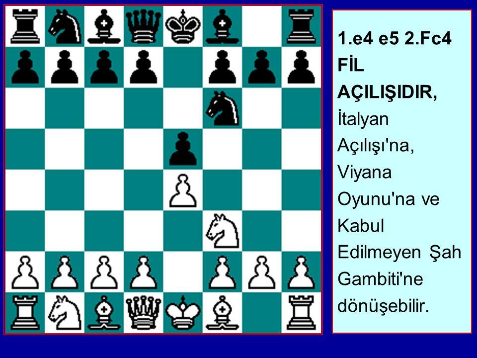 1.e4 e5 2.Fc4 FİL AÇILIŞIDIR, İtalyan Açılışı na, Viyana Oyunu na ve Kabul Edilmeyen Şah Gambiti ne dönüşebilir.