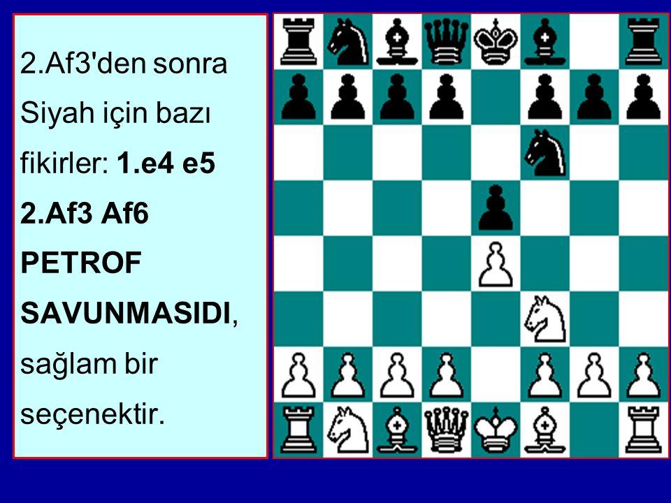 2.Af3 den sonra Siyah için bazı fikirler: 1.e4 e5 2.Af3 Af6 PETROF SAVUNMASIDI, sağlam bir seçenektir.