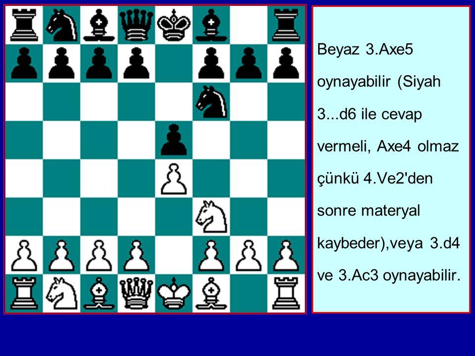 Beyaz 3.Axe5 oynayabilir (Siyah 3...d6 ile cevap vermeli, Axe4 olmaz çünkü 4.Ve2 den sonre materyal kaybeder),veya 3.d4 ve 3.Ac3 oynayabilir.
