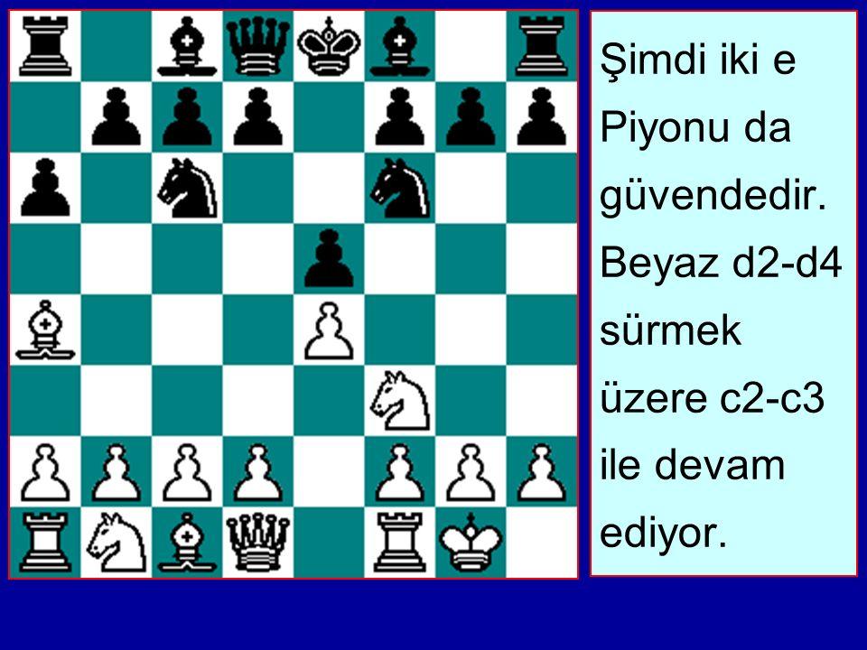 Şimdi iki e Piyonu da güvendedir. Beyaz d2-d4 sürmek üzere c2-c3 ile devam ediyor.