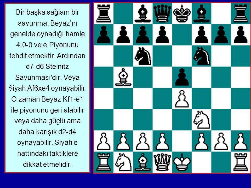 Bir başka sağlam bir savunma.Beyaz ın genelde oynadığı hamle 4.0-0 ve e Piyonunu tehdit etmektir.