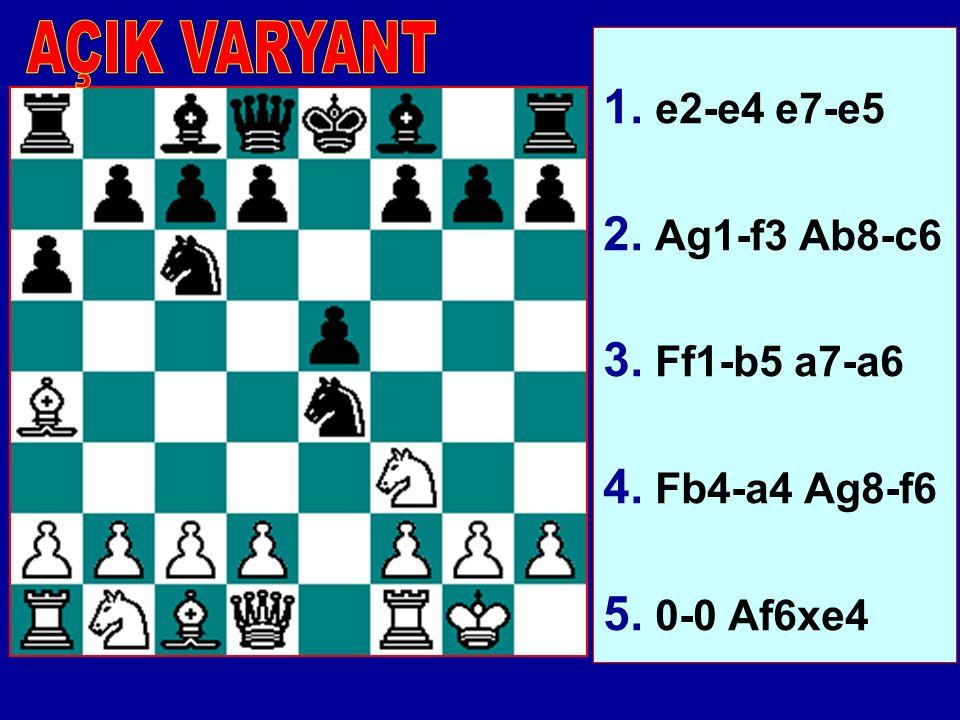 1. e2-e4 e7-e5 2. Ag1-f3 Ab8-c6 3. Ff1-b5 a7-a6 4. Fb4-a4 Ag8-f6 5. 0-0 Af6xe4