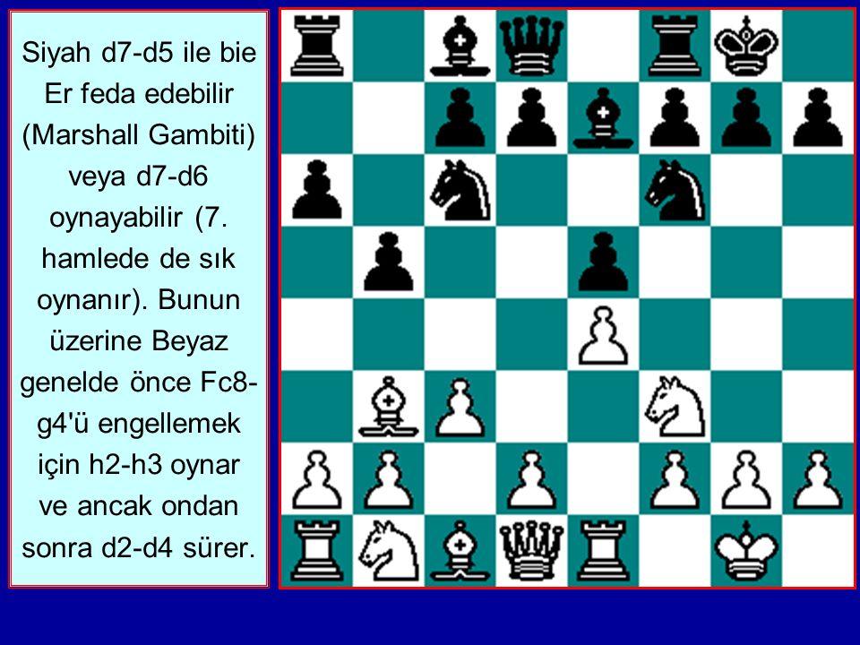 Siyah d7-d5 ile bie Er feda edebilir (Marshall Gambiti) veya d7-d6 oynayabilir (7.