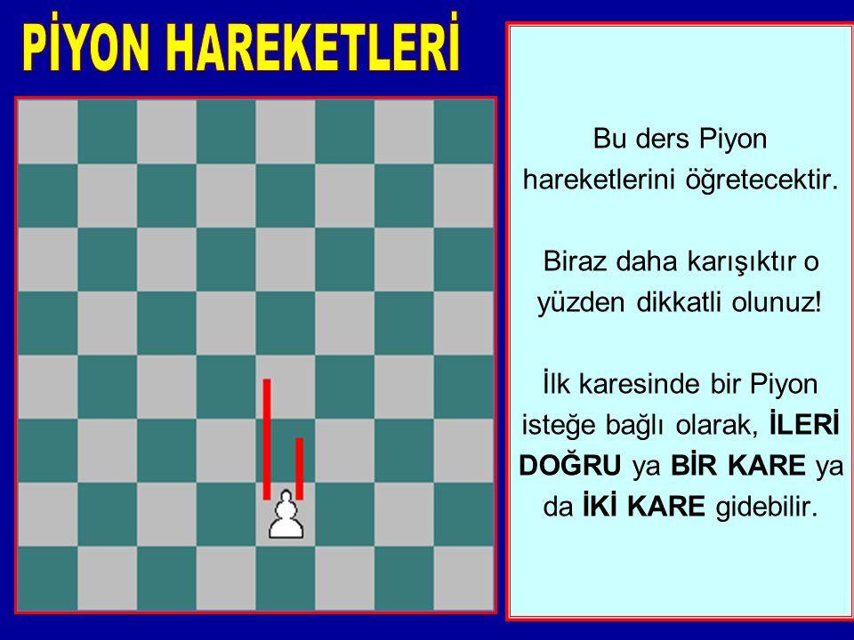 Bu ders Piyon hareketlerini öğretecektir.Biraz daha karışıktır o yüzden dikkatli olunuz.
