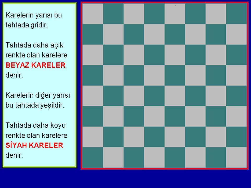 Karelerin yarısı bu tahtada gridir.Tahtada daha açık renkte olan karelere BEYAZ KARELER denir.