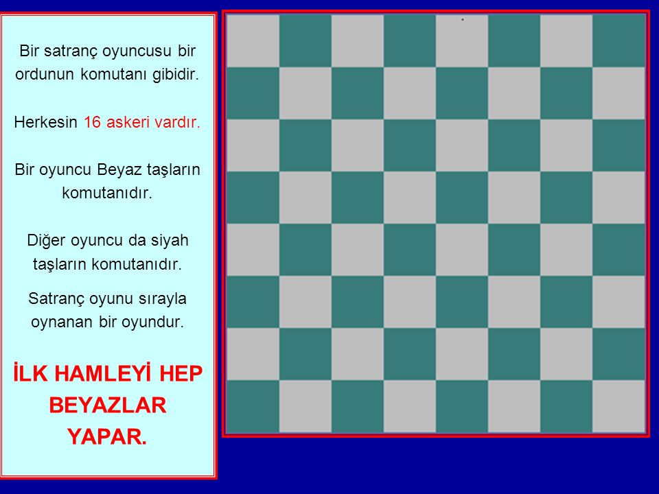 Bir satranç oyuncusu bir ordunun komutanı gibidir.