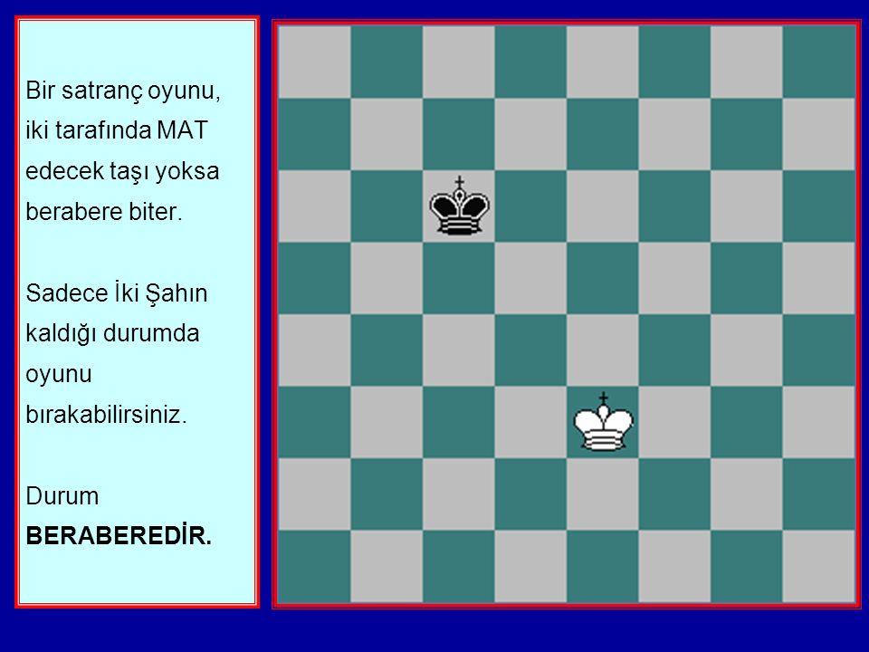 Bir satranç oyunu, iki tarafında MAT edecek taşı yoksa berabere biter.