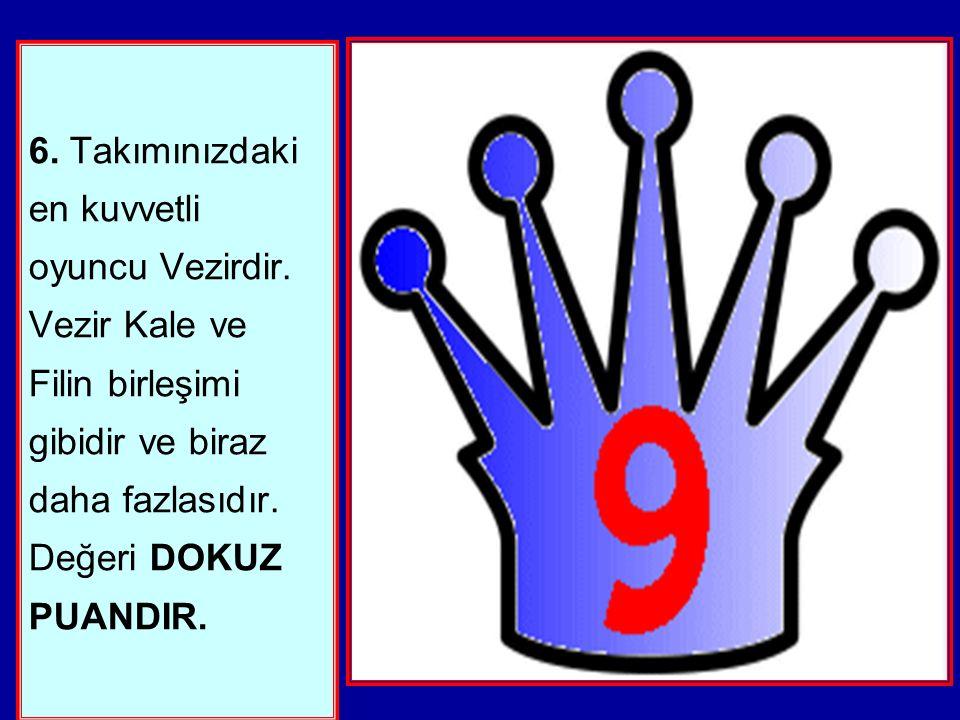 6.Takımınızdaki en kuvvetli oyuncu Vezirdir.