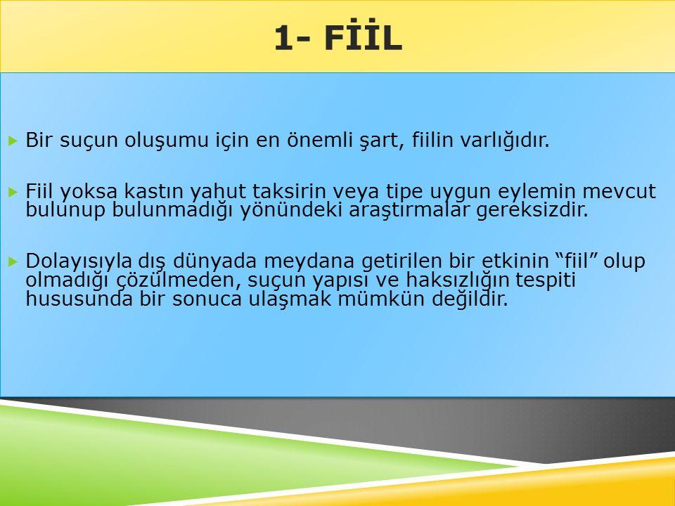 4- FAİL  Suç tiplerinde fail genellikle, her kim , kimse , bir kimse veya kişi terimleri ile gösterilir.