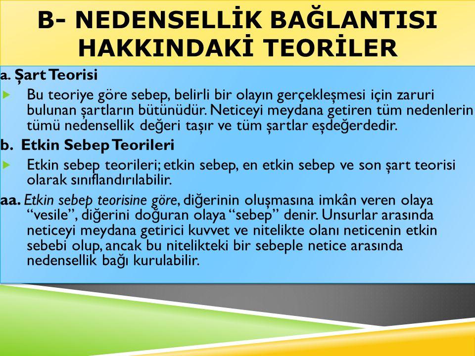 B- NEDENSELLİK BAĞLANTISI HAKKINDAKİ TEORİLER a.