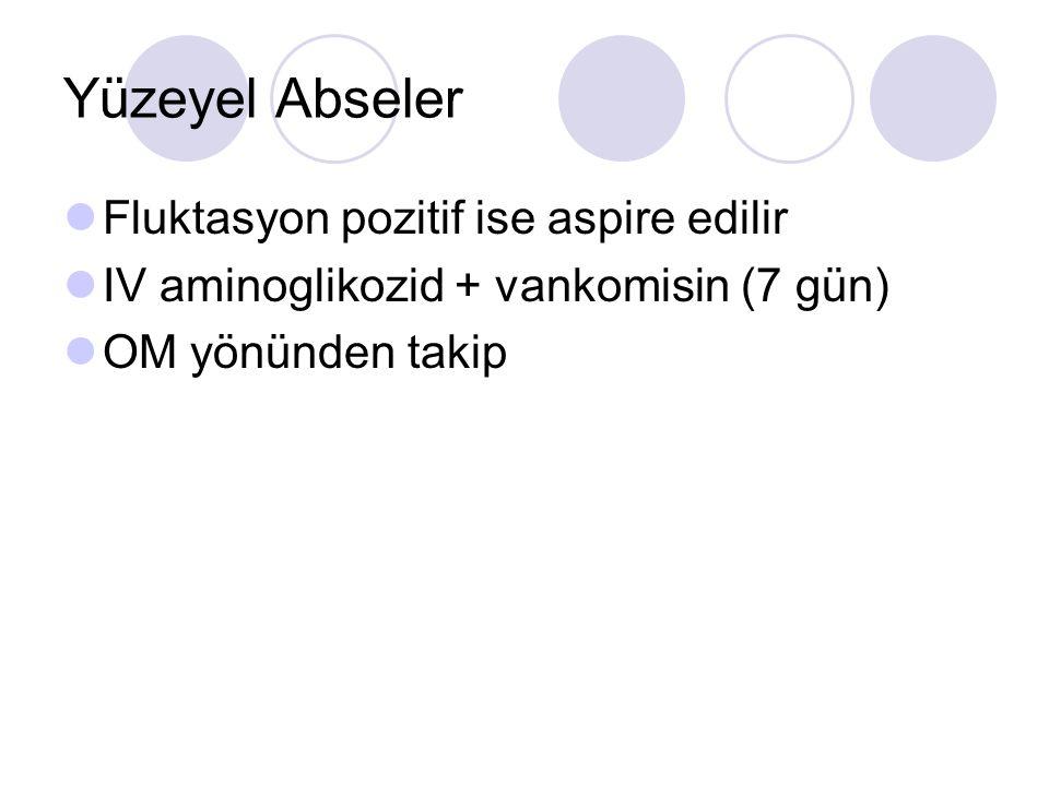 Yüzeyel Abseler Fluktasyon pozitif ise aspire edilir IV aminoglikozid + vankomisin (7 gün) OM yönünden takip