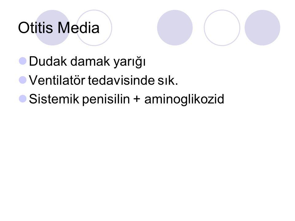 Otitis Media Dudak damak yarığı Ventilatör tedavisinde sık. Sistemik penisilin + aminoglikozid