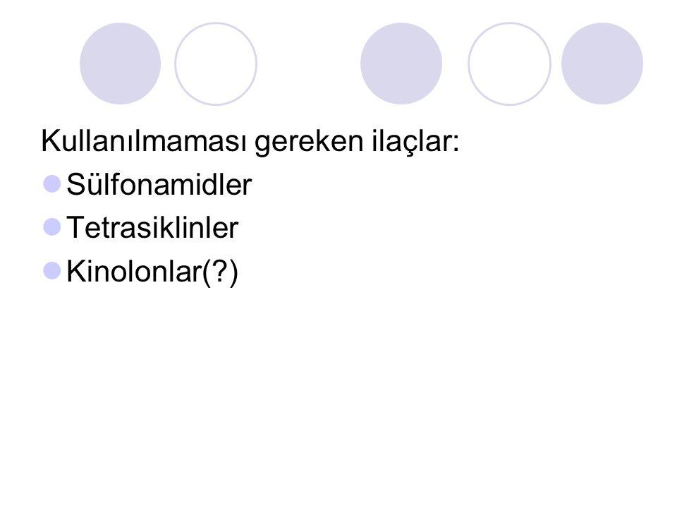 Kullanılmaması gereken ilaçlar: Sülfonamidler Tetrasiklinler Kinolonlar( )
