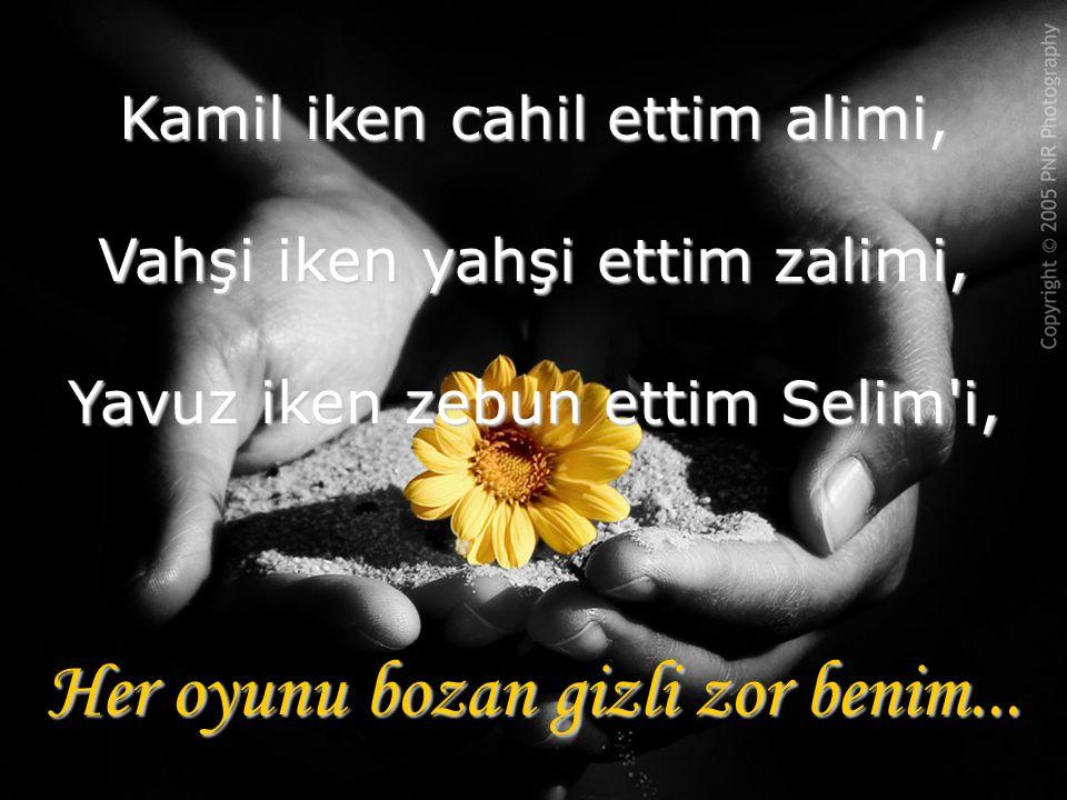 Kamil iken cahil ettim alimi, Vahşi iken yahşi ettim zalimi, Yavuz iken zebun ettim Selim i, Her oyunu bozan gizli zor benim...