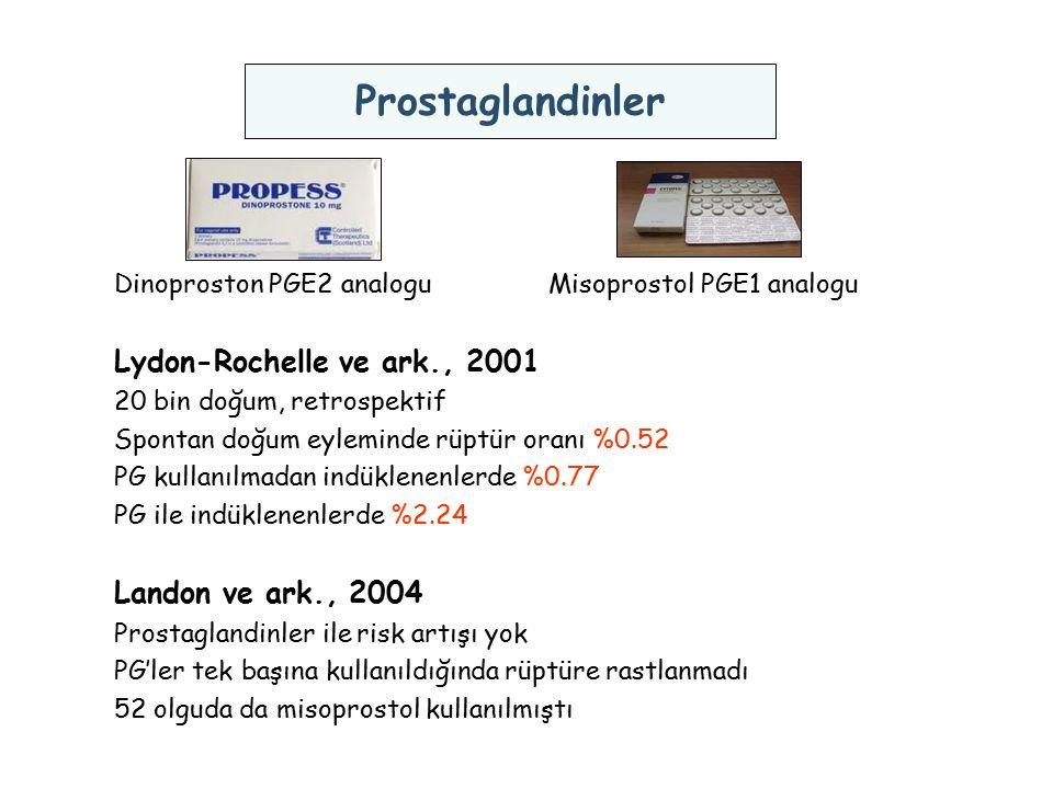 Dinoproston PGE2 analogu Misoprostol PGE1 analogu Lydon-Rochelle ve ark., 2001 20 bin doğum, retrospektif Spontan doğum eyleminde rüptür oranı %0.52 P