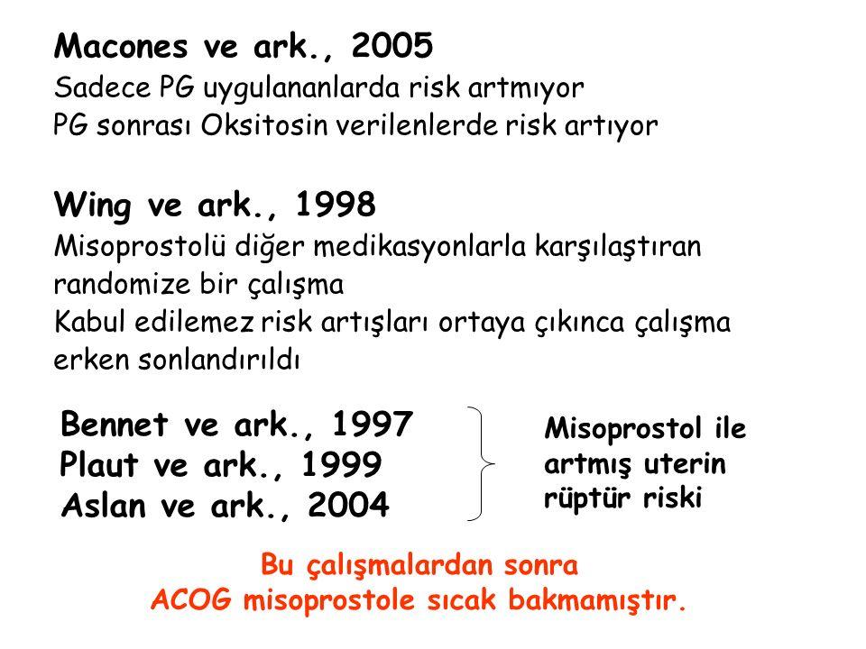 Macones ve ark., 2005 Sadece PG uygulananlarda risk artmıyor PG sonrası Oksitosin verilenlerde risk artıyor Wing ve ark., 1998 Misoprostolü diğer medi