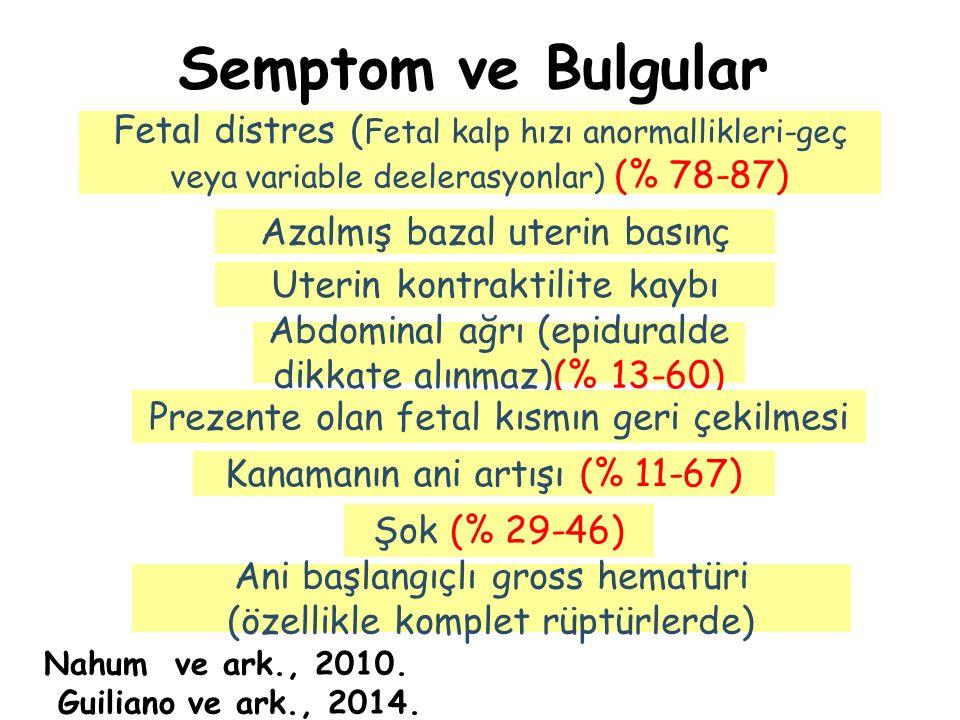 Semptom ve Bulgular Fetal distres ( Fetal kalp hızı anormallikleri-geç veya variable deelerasyonlar) (% 78-87) Abdominal ağrı (epiduralde dikkate alın