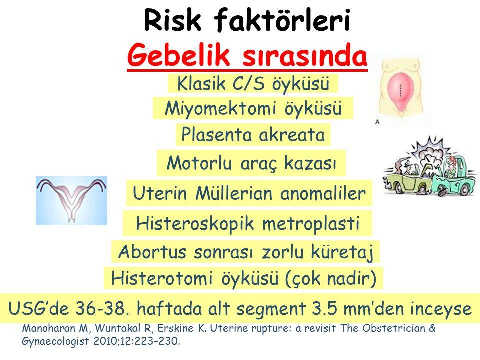 Risk faktörleri Gebelik sırasında Klasik C/S öyküsü Plasenta akreata Histerotomi öyküsü (çok nadir) Miyomektomi öyküsü Motorlu araç kazası Uterin Müll