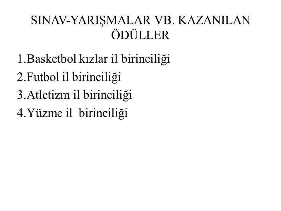 SINAV-YARIŞMALAR VB. KAZANILAN ÖDÜLLER 1.Basketbol kızlar il birinciliği 2.Futbol il birinciliği 3.Atletizm il birinciliği 4.Yüzme il birinciliği