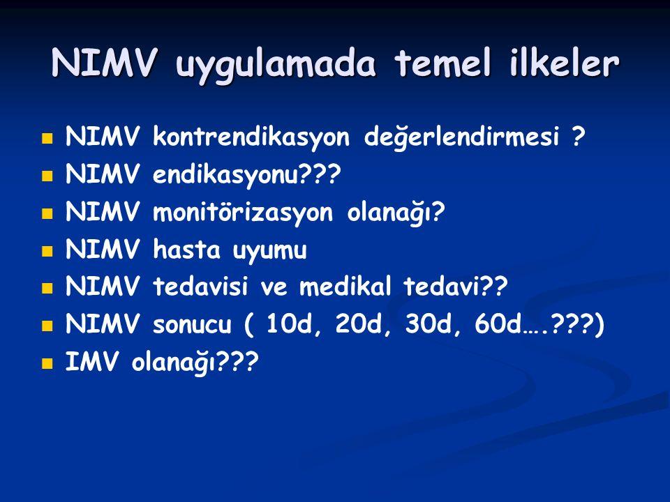 NIMV uygulamada temel ilkeler NIMV kontrendikasyon değerlendirmesi ? NIMV endikasyonu??? NIMV monitörizasyon olanağı? NIMV hasta uyumu NIMV tedavisi v