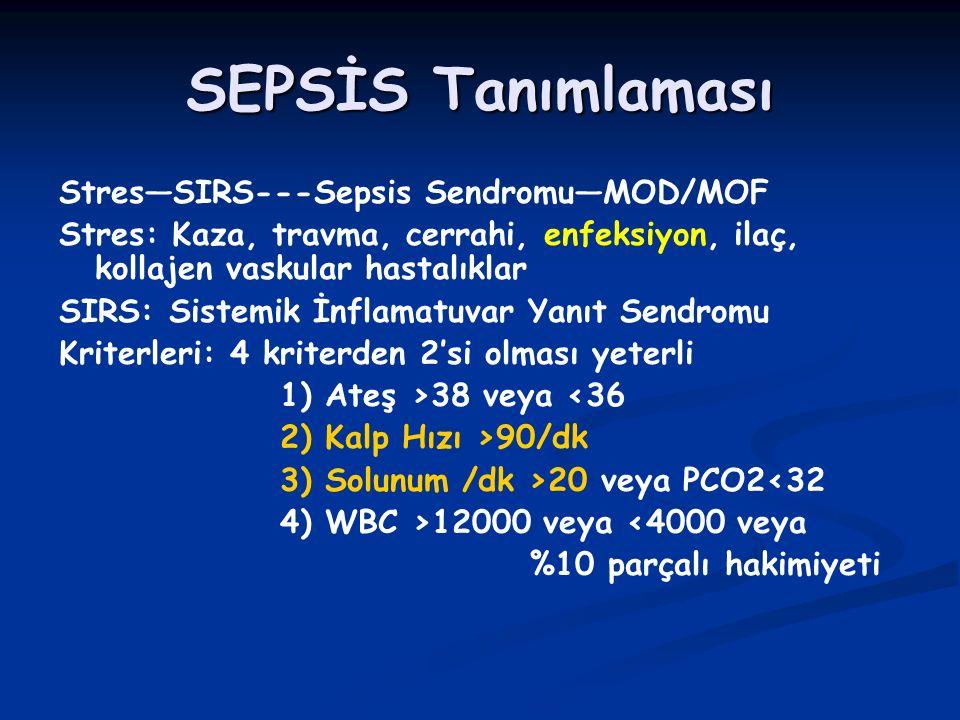 SEPSİS Tanımlaması Stres—SIRS---Sepsis Sendromu—MOD/MOF Stres: Kaza, travma, cerrahi, enfeksiyon, ilaç, kollajen vaskular hastalıklar SIRS: Sistemik İnflamatuvar Yanıt Sendromu Kriterleri: 4 kriterden 2'si olması yeterli 1) Ateş >38 veya <36 2) Kalp Hızı >90/dk 3) Solunum /dk >20 veya PCO2<32 4) WBC >12000 veya <4000 veya %10 parçalı hakimiyeti