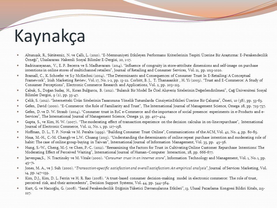"""Kaynakça Altunışık, R., Sütütemiz, N. ve Çallı, L. (2010). """"E-Memnuniyeti Etkileyen Performans Kriterlerinin Tespiti Üzerine Bir Araştırma: E-Perakend"""