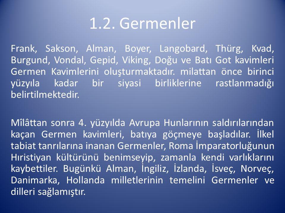 Frank, Sakson, Alman, Boyer, Langobard, Thürg, Kvad, Burgund, Vondal, Gepid, Viking, Doğu ve Batı Got kavimleri Germen Kavimlerini oluşturmaktadır. mi