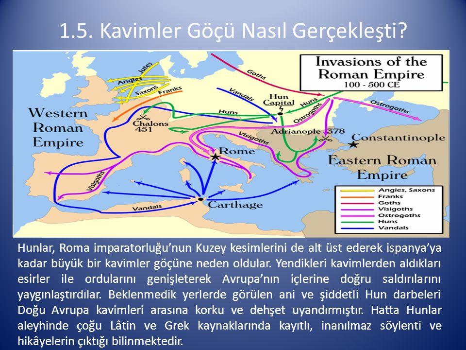Hunlar, Roma imparatorluğu'nun Kuzey kesimlerini de alt üst ederek ispanya'ya kadar büyük bir kavimler göçüne neden oldular. Yendikleri kavimlerden al