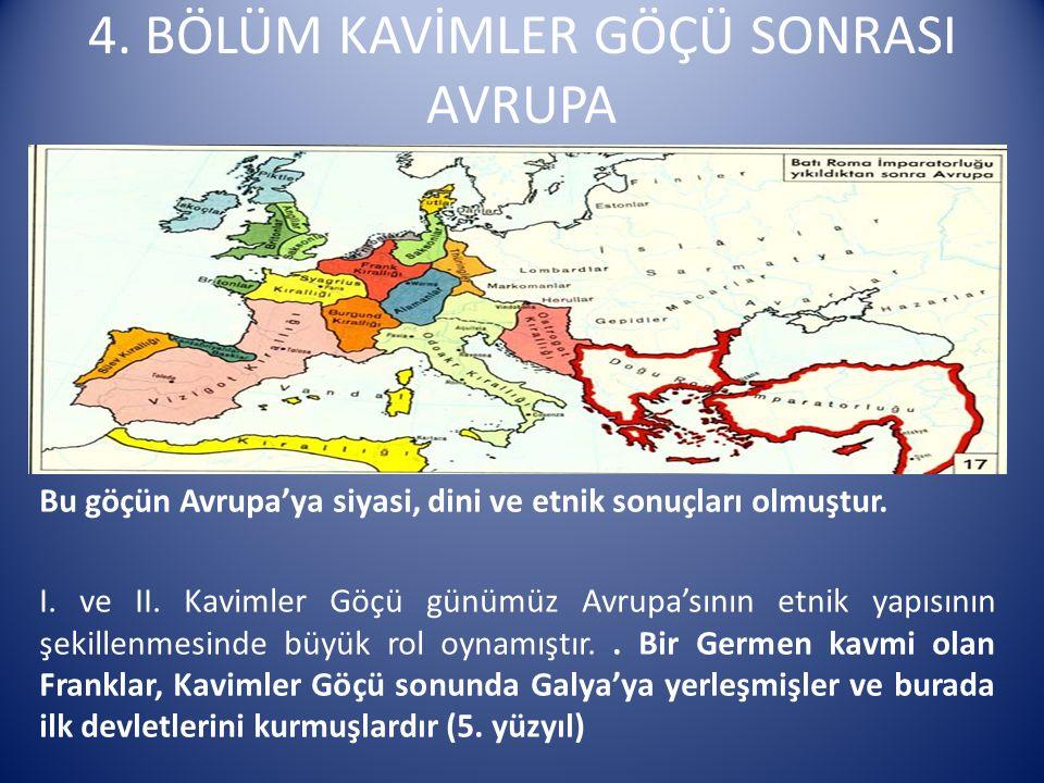 4. BÖLÜM KAVİMLER GÖÇÜ SONRASI AVRUPA Bu göçün Avrupa'ya siyasi, dini ve etnik sonuçları olmuştur. I. ve II. Kavimler Göçü günümüz Avrupa'sının etnik