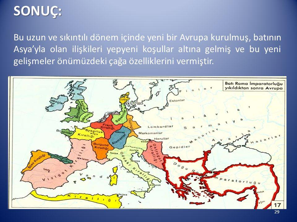 29SONUÇ: Bu uzun ve sıkıntılı dönem içinde yeni bir Avrupa kurulmuş, batının Asya'yla olan ilişkileri yepyeni koşullar altına gelmiş ve bu yeni gelişm