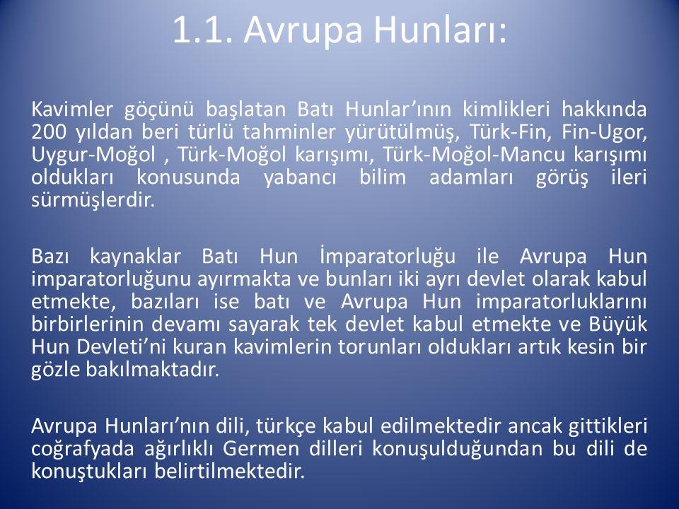 Kavimler göçünü başlatan Batı Hunlar'ının kimlikleri hakkında 200 yıldan beri türlü tahminler yürütülmüş, Türk-Fin, Fin-Ugor, Uygur-Moğol, Türk-Moğol