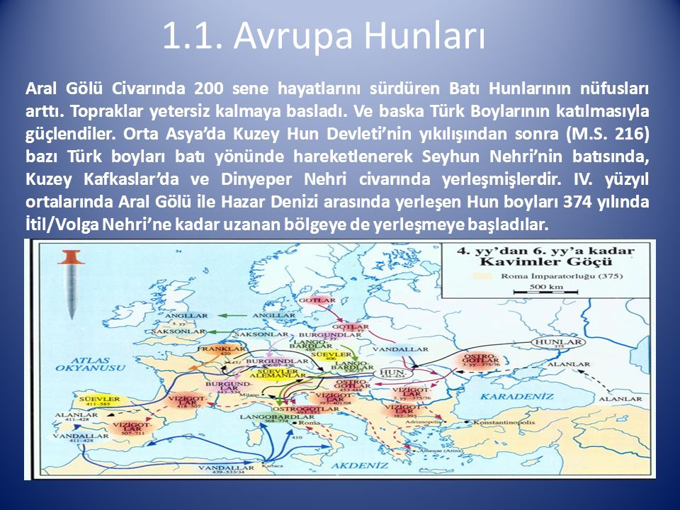 1.1. Avrupa Hunları Aral Gölü Civarında 200 sene hayatlarını sürdüren Batı Hunlarının nüfusları arttı. Topraklar yetersiz kalmaya basladı. Ve baska Tü