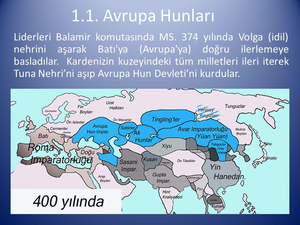 Liderleri Balamir komutasında MS. 374 yılında Volga (idil) nehrini aşarak Batı'ya (Avrupa'ya) doğru ilerlemeye basladılar. Kardenizin kuzeyindeki tüm