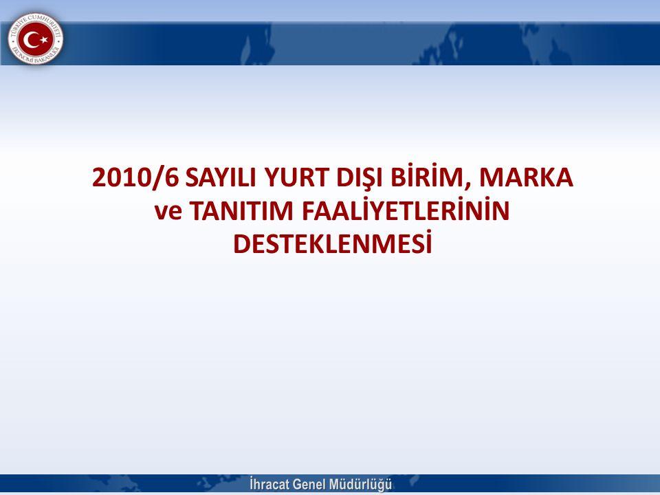 2010/6 SAYILI YURT DIŞI BİRİM, MARKA ve TANITIM FAALİYETLERİNİN DESTEKLENMESİ