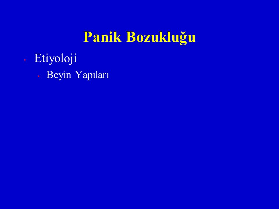 Etiyoloji Beyin Yapıları Panik Bozukluğu