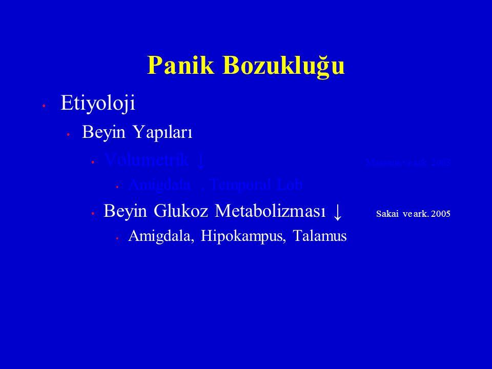 Etiyoloji Beyin Yapıları Volumetrik ↓ Massana ve ark. 2003 Amigdala, Temporal Lob Beyin Glukoz Metabolizması ↓ Sakai ve ark. 2005 Amigdala, Hipokampus
